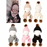 Sunbona Toddler Baby Boys Girls Winter Warm Beanie Cap Cotton Knitted Scarves Ball Hats+Scarf Set (Khaki, One Ball)