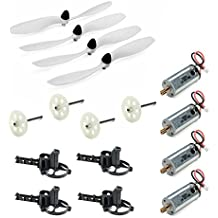 Kinglc 4pcs Propellers & 4pcs Motor & 4pcs Gear & 4pcs Motor Mount Spare Parts for JJRC H16 Yizhan Tarantula X6 IOC Rc Quadcopter