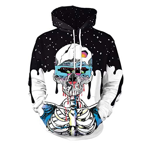 U LOOK UGLY TODAY Unisex Mens Halloween Skeleton Sweatshirt, Scary Bloody 3D Digital Printng Hoodies with Hat & Big Pocket, Black-01, XX-Large for $<!--$14.99-->