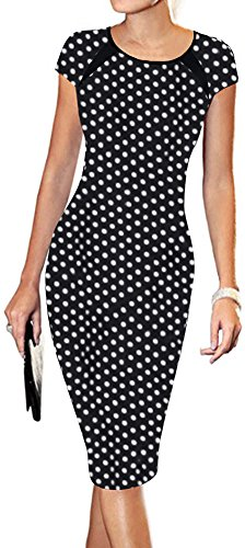 LUNAJANY Women's Polka Dot Print Sexy Wear to Work Office Career Sheath Midi Dress S polka dot - Multi Polka Dot Print
