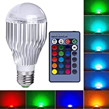 E26 LED Light Bulb, Blinngo 10W RGB 16 Colors Changing Dimmable LED Lamp with Remote Control for Home Decoration, Bar, Party, KTV Mood Ambiance Lighting