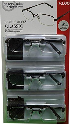 design Optics 3-Pk +300 Classic Semi-Rimless Reader Glasses & Soft - Design Readers Optics