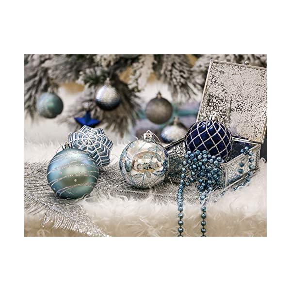 Valery Madelyn Palle di Natale 16 Pezzi 8cm Palle di Natale, Winter Wishes Argento e Blu Infrangibile Palla di Natale Ornamenti Decorazione per la Decorazione Dell'Albero di Natale 6 spesavip