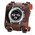 Avaner Mens Retro Steampunk Hip-hop Gothic Brown 74mm Wide Leather Cuff Bracelet Sport Watch Women Big Dial Analog Quartz Wrist Watch 7