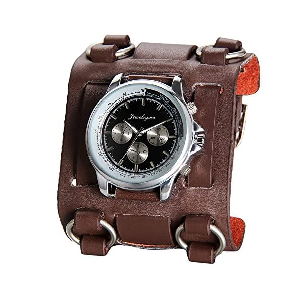 Avaner Mens Retro Steampunk Hip-hop Gothic Brown 74mm Wide Leather Cuff Bracelet Sport Watch Women Big Dial Analog Quartz Wrist Watch 4