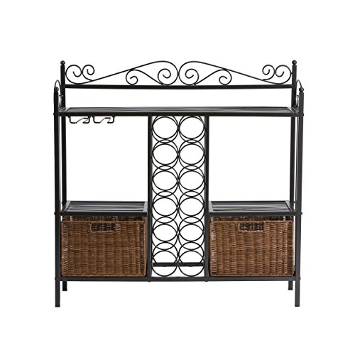 Celtic Bakers Rack w/ Wine Storage - Wrought Iron - Gunmetal Finish (Wine Rack Wrought Metal Iron)