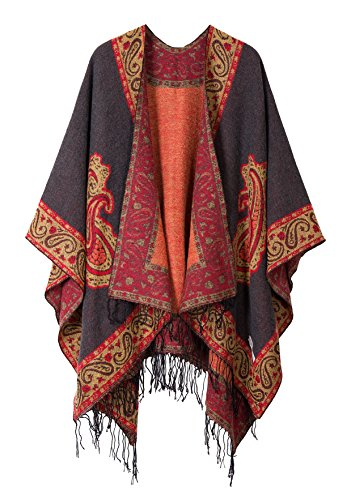 Women's Fashionable Retro Style Vintage Pattern Tassel Poncho