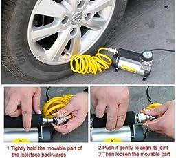 Big-Autoparts Professional Mini Portable Metal Cylinder Air Compressor 12v 150 PSI Electric Tire Air Inflator Pump Bike Car Ball