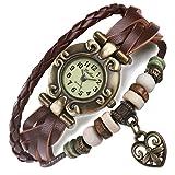ANEWISH-Damen-und-Herren-Braun-Leder-Armband-Schne-Armbanduhr-Einstellbar-Armband-Design-mit-Herz-Retro-Zifferblatt-Kostenlose-blaue-Schmuck-Box-Lnge-17cm-195-cm