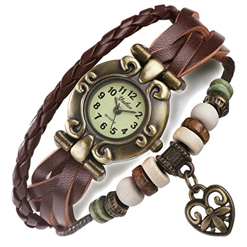 ANEWISH Damen und Herren Braun Leder-Armband, Schöne Armbanduhr, Einstellbar Armband, Design mit Herz, Retro Zifferblatt. Kostenlose blaue Schmuck-Box. Länge: 17cm - 19.5 cm