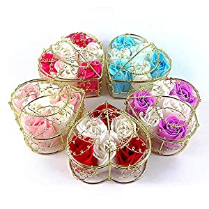 Memoirs- Gold Plated Iron Basket 6 Pcs Soap Flowers Christmas Creative Small Gift Wedding Decoration Home Party Decor Flores 71