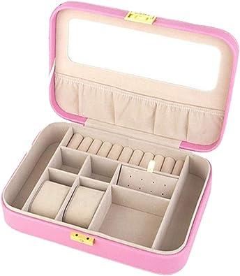 non-brand Caja Joyero Pequeña, Joyero de Viaje Cajas con Espejo Cerradura para Joyas de Mujer, para Anillos, Aretes, Pendientes - Rosado: Amazon.es: Joyería