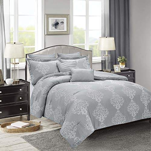 Sweet Home Collection Comforter Set 7 Piece Embroidered Decorative Printed Luxurious Bedding with Pleated Shams, Quilted Pillows, and Pillowcases, King, Porter - Comforter Collection Set Italian