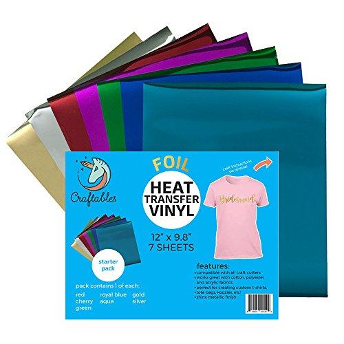 Craftables Starter Pack Foil Heat Transfer Vinyl For Crafts. Each Sheet 9.8