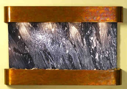 Adagio Sunrise Springs with Black Spider Marble in Rustic Copper Finish and Rounded Edges Fountain