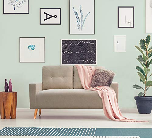 Pawnova Upholstered Mid Century Loveseat Sofa for Living Room, Modern Design Sofa with Tufted Back, Beige