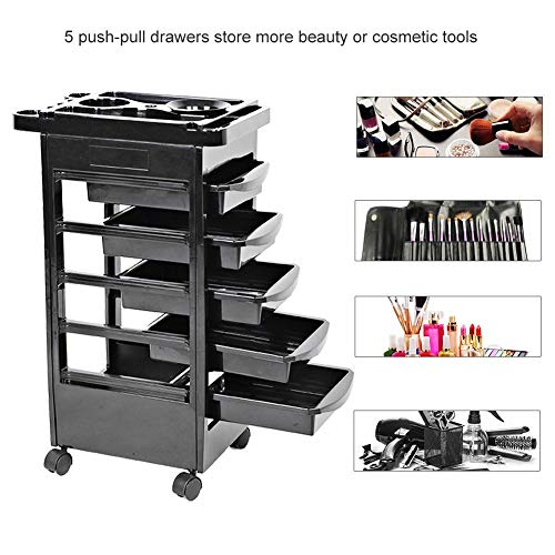 Hair Salon Instrument Storage Cart, Adjustable Height Trolley Beauty Tools with 5 Drawers