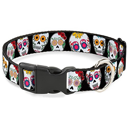 Buckle-Down Plastic Clip Collar - Sugar Skull Outline