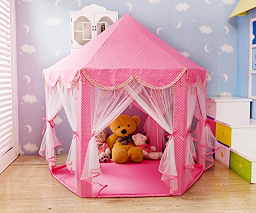 SpringBuds Extra Thick Kids Indoor Princess Castle Play Tents with Beading Decoration,Outdoor Girls Large Playhouse,55