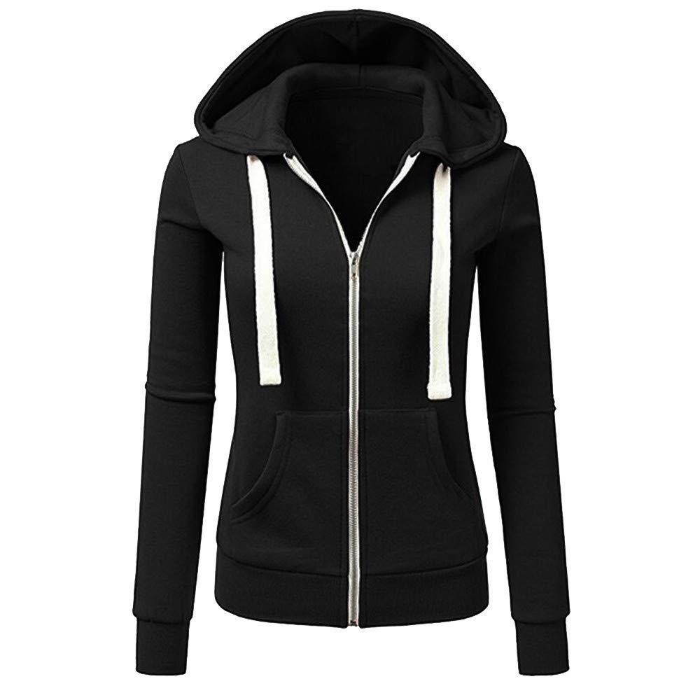 HiGOGO Casual Hooded Coat,Long Sleeve Patchwork Front Zipper Pocket Sport Overcoat Hoodie Sweatshirt