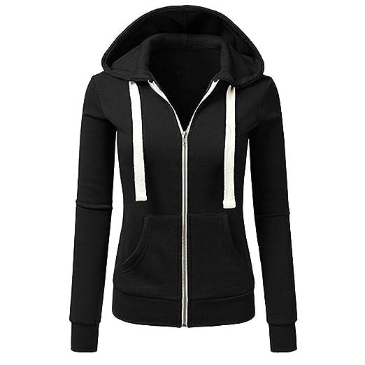 82f18eb7dd5 Women Casual Autumn Winter Long Sleeve Hooded Coat Zipper Sport Outwear  Jacket (S