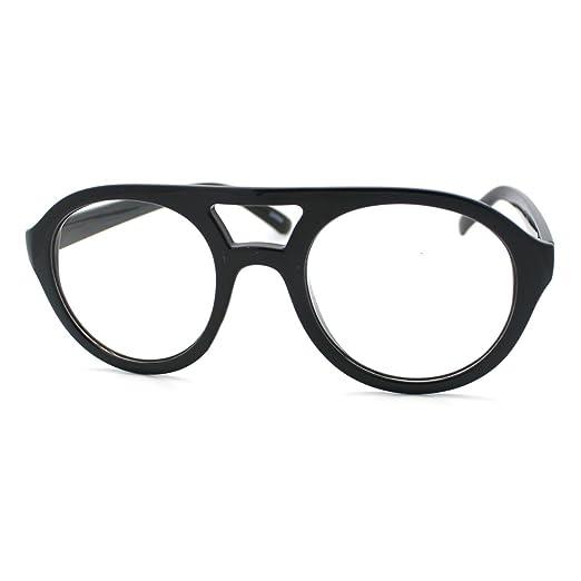Amazon.com: Super Retro Eyeglasses Clear Lens Flat Top Round Double ...