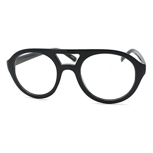 c09eb541ef Super Retro Eyeglasses Clear Lens Flat Top Round Double Bridge Frame Black