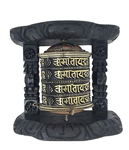 Tibetan Buddhist 8 Lucky Symbols Om Mani Padme Hum Spinning Wall Hanging Table Top Wood Carved Spiritual Prayer Wheel (Mani Wheel) (Large (large size: 5.57 x 6.25 x 2.8), 4 layer (Mani Wheel)
