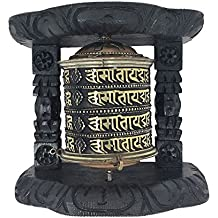 Tibetan Buddhist 8 Lucky Symbols Om Mani Padme Hum Spinning Wall Hanging Table Top Wood Carved Spiritual Prayer Wheel (Mani Wheel) (Large (large size: 5.57 x 6.25 x 2.8), 4 layer Mantra)