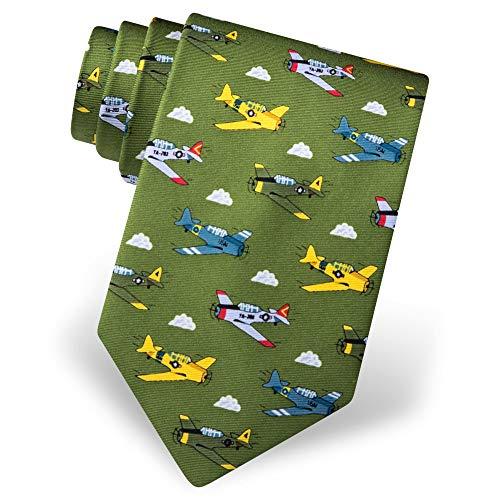 Alynn Novelty Green Silk Ties - Men's 100% Silk WWII Warbirds Planes Airplanes Aviation Novelty Tie Necktie (Green)