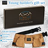 Young Builder leather kids tool belt set - childrens tool pouch with leather hammer loops and carpenter pencils