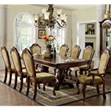 247SHOPATHOME IDF-3005T-9PC Dining-Room-Sets, Brown
