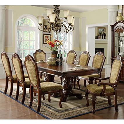 247SHOPATHOME IDF 3005T 9PC Dining Room Sets, Brown