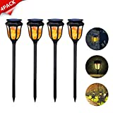 Dr. Prepare 4 Pack Outdoor Solar Flame Torch Lights 96 LED Waterproof Garden Wall Lamp with Dark Sensor for Garden, Patio, Landscape, and Pathway Decoration