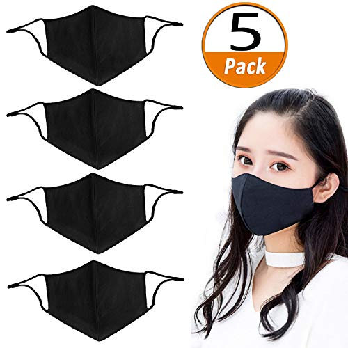 5 Pack Unisex Ice silk adjustment buckle Mouth Mask Adjustable Anti Dust Face Mouth Mask,Black Cotton Face Mask for Cycling Camping Travel (Buckle Silk)