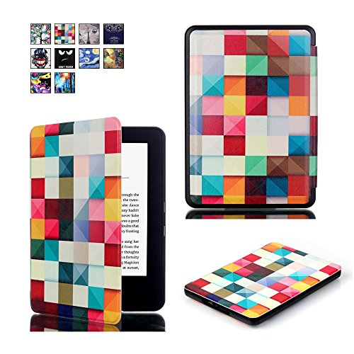 Price comparison product image All-New Kindle 8th Generation 2016 Case,  SAVYOU Cute Painted Pu Leather Smart Shell Protective and Form Fitting Cover Case for All-New Kindle (8th Generation,  2016) Magic Cube