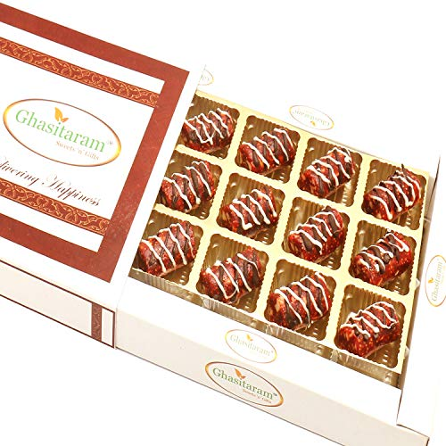 Ghasitaram Gifts Sweets -Anjeer Khajoor Chocolate Rolls in White Box
