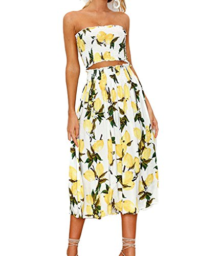 Kancystore Women's Casual Sunflower Printed Crop Top Tube Set 2 Piece Outfit Long Party Dress