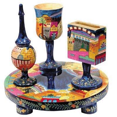 Yair Emanuel Painted Wood Havdalah Set with Jerusalem (Wood Havdalah Set)