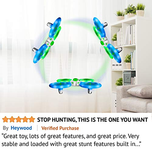 51BLd1ORFSL - Mini Drones for Kids and Beginners – UFO 3000 LED RC Kid Drone, Remote Control Quadcopter Flying Toys for Boys or Girls w/Extra Stunt Drone Battery