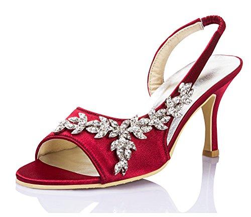 Minitoo - Zapatos con tacón mujer, color rojo, talla 43
