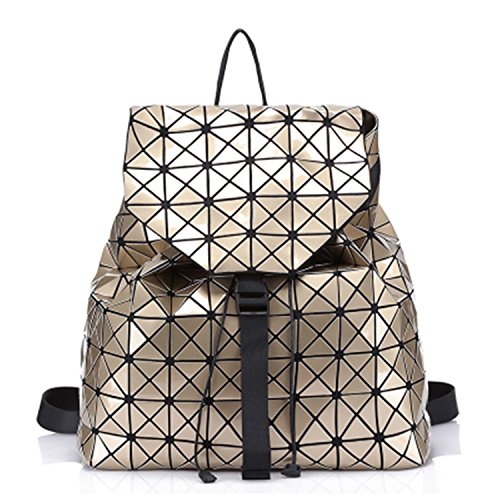 New Geometric pattern Laser BaoBao Unisex Backpack Women Dazzle Color Plaid Female Fashion Sequins Mirror Gold 14 Inches ()