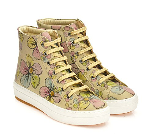 GOBY Women's Boot'' CW2017 Print Sneakers High Top ''Floral Shoes UrgAqU