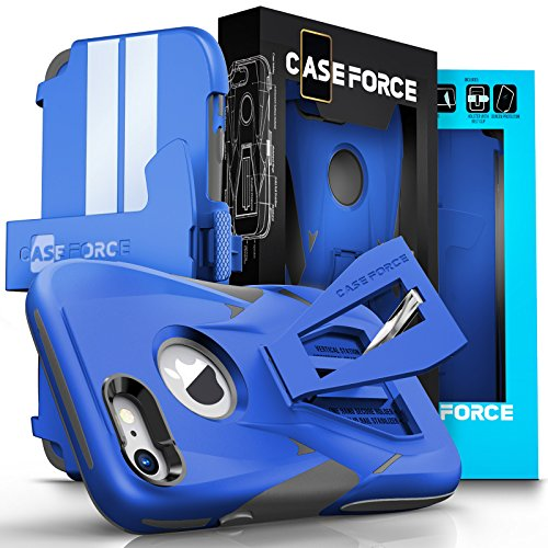iPhone 7 Case, CASE FORCE [Velocity Series] World's First High Velocity Impact Resistance Case Cover, Multi-functional Kickstand+Swivel Belt Clip Holster + Screen Protector For iPhone 7 (Blue/Gray)