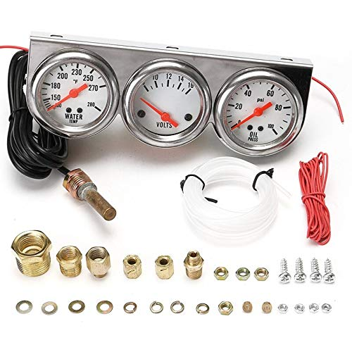Star-Trade-Inc - Universal 2.27 Inch Gauge Water Temp VOLTAGE Volt Oil Pressure Complete SET W/Panel Car Meter/Auto/Triple Gauge Kit Tachometer
