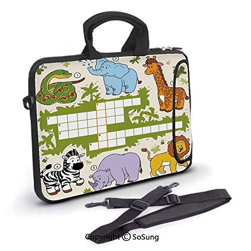 17 inch Laptop Case,Colorful Crossword Game for Children Wild Jungle Safari Animals Grid Decorative Neoprene Laptop Shoulder Bag Sleeve Case with Handle and Carrying & External Side Pocket,for Netbook