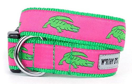 Preppy Pink and Green Alligator Dog Collar and/or Lead by Worthy Dog (Medium) - Alligator Collar