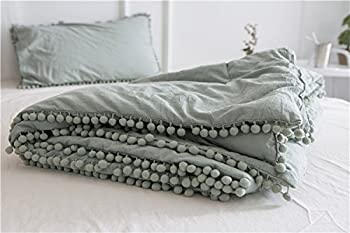 Pom Poms Thin Comforter Full Size Green Cotton Meaning4