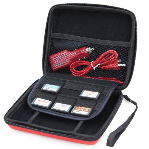 Nintendo 2DS Accessory Travel Pack / Case with Car Charger and USB Charging Cable: RED (ButterFox)