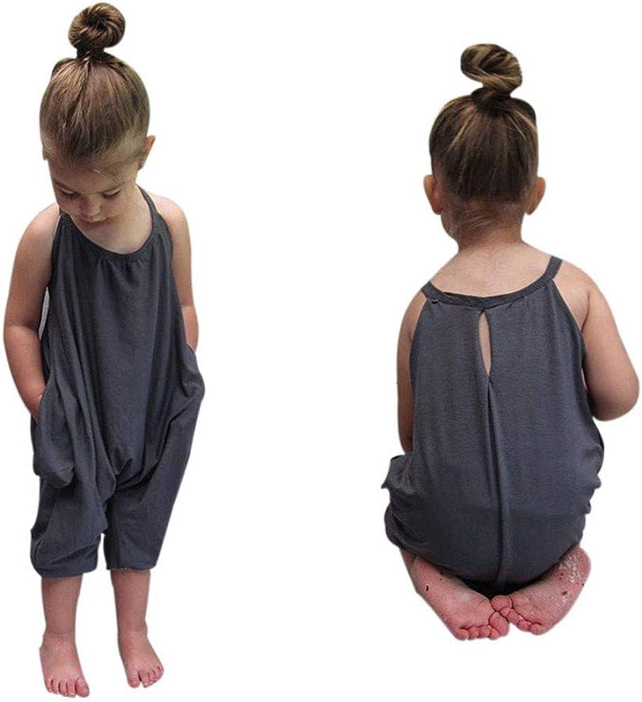 Realdo Baby Clothes Summer Girls Cute Jumpsuits for Kids Backless Harem Strap Romper Jumpsuit Toddler Pants